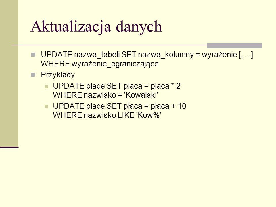 Aktualizacja danych UPDATE nazwa_tabeli SET nazwa_kolumny = wyrażenie [,…] WHERE wyrażenie_ograniczające.